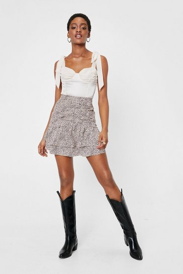 Beige Dalmatian Ruched Ruffle Mini Skirt