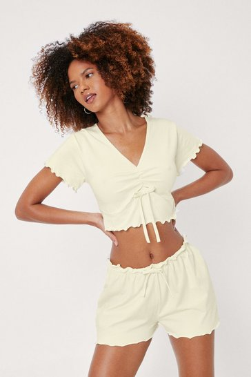 Lemon Lettuce Hem Crop T-Shirt and Shorts Pajama Set