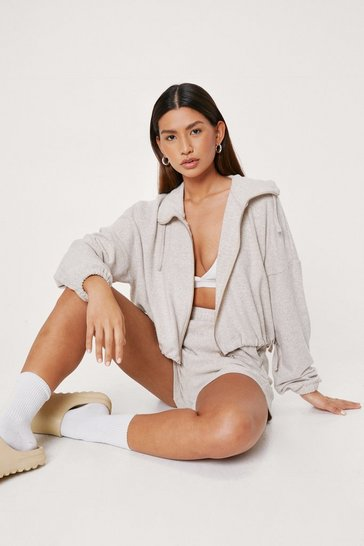 Grey marl Brushed Zip Hoodie and Shorts Set