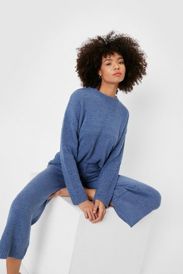 Ensemble loungewear pull ample & short en maille bouclette, Denim_blue