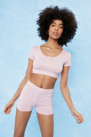 Blush Jersey Button Detail Pj Short Set