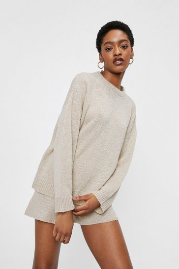 Oatmeal Ribbed Edge Knit Jumper and Shorts Lounge Set
