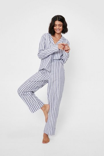 Navy Stripe Print Pajama Shirt and Pants Set