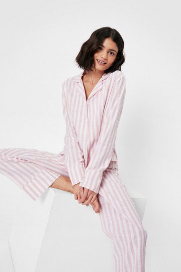 Pink Stripe Print Pajama Shirt and Pants Set