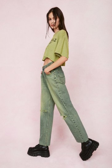 Lime Vintage High Rise Distressed Straight Leg Jeans