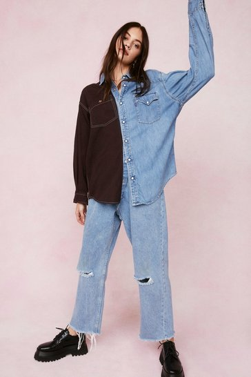 Chocolate Vintage Two Tone Oversized Denim Shirt