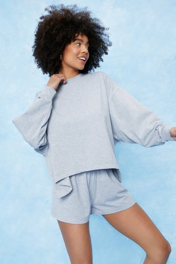 Grey marl Cotton Oversized Pj Short Set