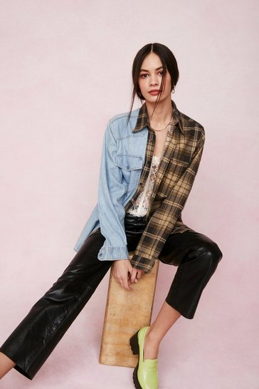 Blue Vintage Oversized Contrast Check Denim Shirt