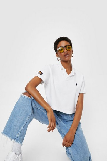 Ecru Vintage Oversized Cropped Polo Top