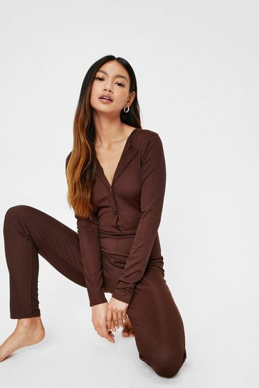 Chocolate Petite Long Sleeve Lounge Jumpsuit