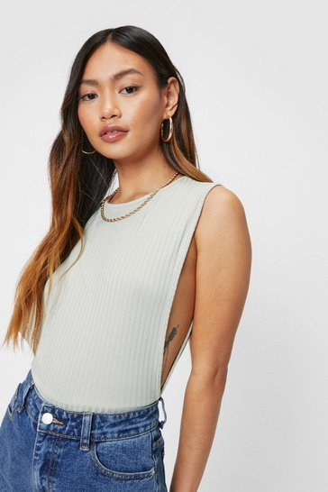 Sage Petite Ribbed Sleeveless Bodysuit