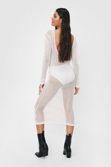 Ecru Crochet Low Back Midi Dress