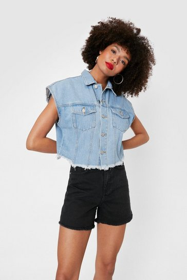 Washed black High Waisted Raw Hem Denim Mom Shorts