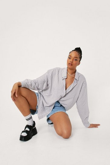 Grey Plus Size Check Print Button Down Shirt