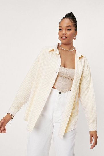 Lemon Plus Size Check Print Button Down Shirt