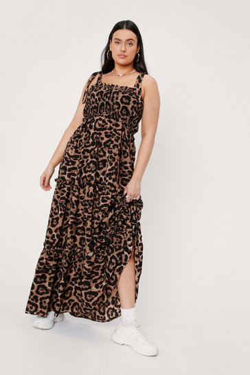 Brown Plus Size Tiered Leopard Print Maxi Dress