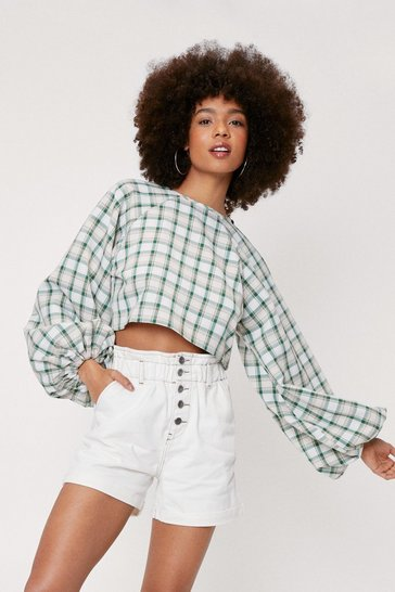 Ecru High Waisted Button Down Ruched Denim Shorts