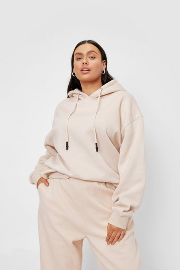 Cream Plus Size Oversized Drawstring Hoodie