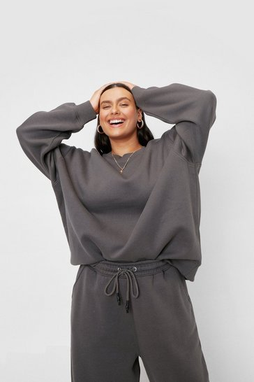 Charcoal Plus Size Crew Neck Oversized Sweatshirt