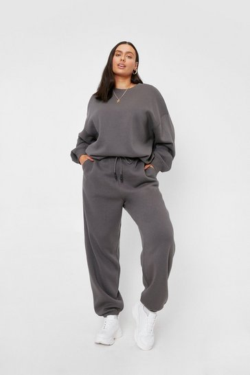 Charcoal Plus Size Drawstring Waist Oversized Joggers