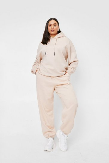Cream Plus Size Drawstring Waist Oversized Joggers