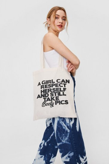 Natural beige WANT Respect Graphic Tote Bag