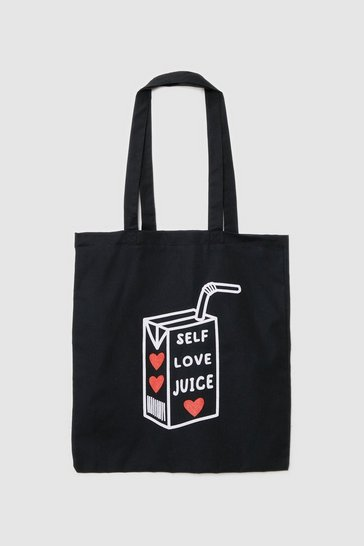 Black WANT Self Love Juice Graphic Tote Bag