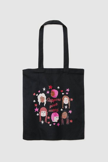 Black WANT Support Your Sisters Graphic Tote Bag
