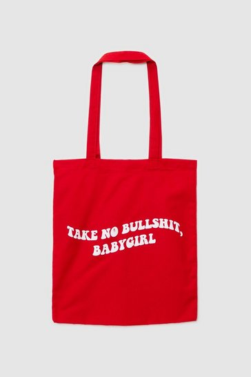 Red WANT Take No Bullshit Graphic Tote Bag