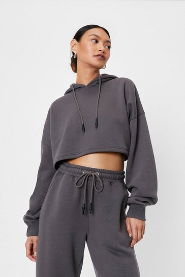 Petite Drawstring Cropped Hoodie, Charcoal