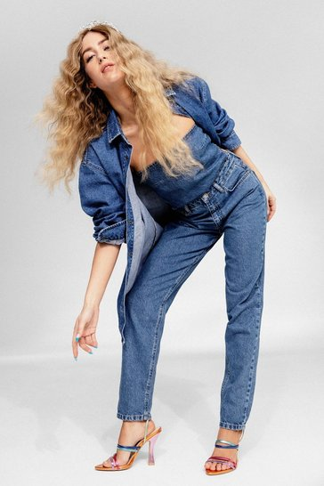 Blue Organic High Rise Tapered Mom Jeans