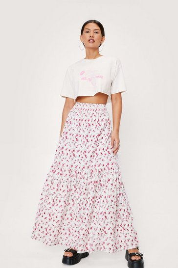 Multi Linen Look Floral Print Tiered Maxi Skirt