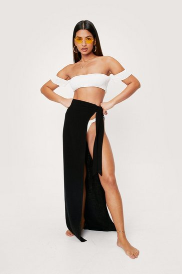 Black High Waisted Tie Side Maxi Cover Up Sarong
