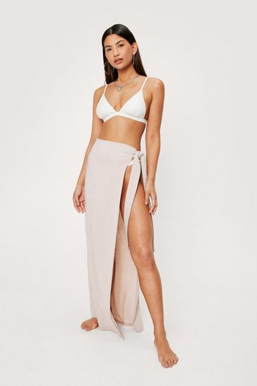 Nude High Waisted Tie Side Maxi Cover Up Sarong