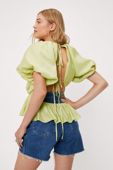 Olive Puff Sleeve Ruffle Open Back Tie Blouse