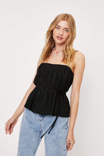 Black Square Neck Belted Pleated Cami Top