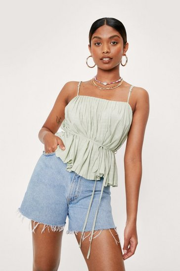 Pistachio Square Neck Belted Pleated Cami Top
