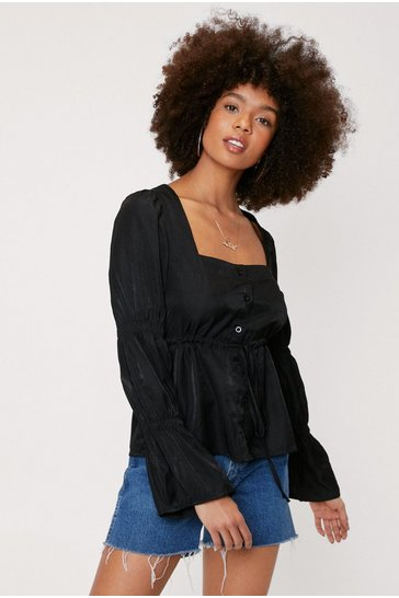 Black Square Neck Shirred Detail Peplum Blouse