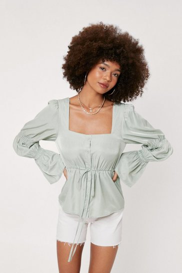 Pistachio Square Neck Shirred Detail Peplum Blouse