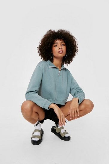 Sage Cropped Zip Long Sleeve Sweatshirt