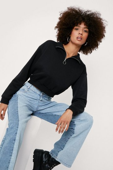Black Zip Funnel Neck Long Sleeve Sweatshirt