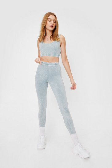 Sage High Waisted Acid Wash Finish Leggings