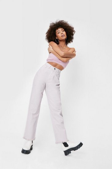 Lilac High Waisted Straight Leg Frayed Hem Jeans