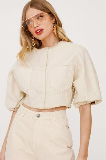 Sand Cropped Puff Sleeve Denim Shirt Jacket