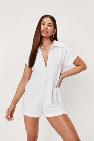 White Collared Button Down Short Sleeve Romper