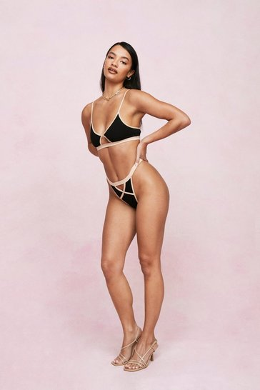 Black Contrast Cut Out Bralette and High Leg Thong Set