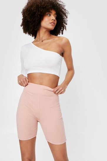 Dusty rose Ribbed High Waisted Longline Workout Shorts