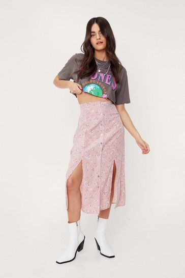 Blush High Waisted Floral Split Hem Midi Skirt