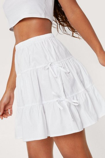 White Poplin High Waisted Tie Side Tiered Mini Skirt