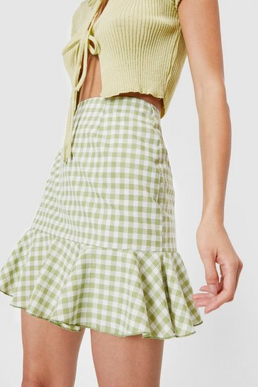 Apple green Gingham Ruffle Hem Mini Skirt